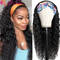 Lace Wigs Water Wave Headband Wig Human Hair 30-36 Inch Brazilian Remy Scarf Natural Headbands For Women 150% Density