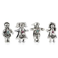 Family Dad Mum Boy Girl Alloy Charm Loose Bead For Pan European Style Bracelet Snake Chain Or Necklace Fashion Jewelry
