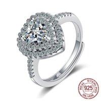 Fina smycken 100% Original 925 Silver Justerbar Ring För Kvinnor Hjärta Kubik Zircon Engagement Bröllop Ringar Gåva Xjz382
