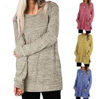 Autumn Women Casual Split Hem Long Sleeve Solid Color Blouse Pockets Tunic Top Women's T-Shirt