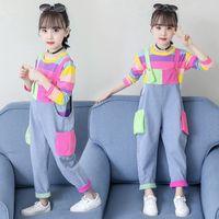 conjunto de garotas bonitos roupas coloridas manga longa arco-íris de moletom jeans jeans jumbsuit 4 5 6 7 9 11 anos menina 2 pcs conjuntos 2127 Q2