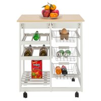 Kitchen movable dining room shelf multi-functional storage cabinet hotel home with cigarettes wine rack 3 baskets car - white