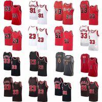 Винтаж ЧикагоБыкMens Derrick Ride # 1 розовый баскетбольный трикотажные изделия Zach 8 Lavine MJ 23 Michael Jersey Dennis 91 Rodman Scottie 33 Pippen ретро рубашка
