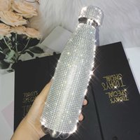 500ml Shinning Water Bottle with Rhinestones Thermos Bottle Bling Stainless Steel Thermos Cup Silver Diamond Flask Vacuum Bottle 210712