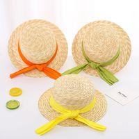 children beach caps fashion 2021 summer girl bowknot straw hat cute kids bow sunshade top hats kid Stingy Brim cap S1045