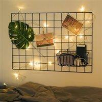 Hooks & Rails Ins Iron Grid Home Wall Decoration Po Frame Art Display Storage Shelf Organizer DIY Note Board Rack Bedroom