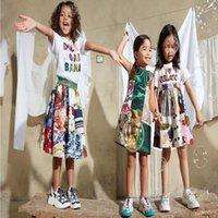 2021SS Summer Grils Vestido Algodón Rose Digital Impresión Digital Conjuntos de manga corta Diseñadores Ropa Niños Playa Vestidos informales Tamaño 90-150