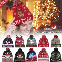 Christmas LED Glowing Hat Hats Light Up The Year Beanie Sweater Knitted For Kid Adult Party