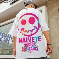 Zazomde хип-хоп тройник улыбки футболки уличная одежда мужская крутая свободная футболка Япония Harajuku футболка летняя высокая улица с короткими рукавами