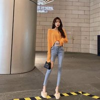 Новые джинсы с высокой талией для женщин летний темперамент тонкий сочетание джинсовые джинсы растягивающие карандашные джинсы женские 790A #