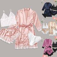 4-Piece Yaz Pijama Beachwear Bikinis Set Pijama Kadınlar için 2021 kadın Mayo Banyo Ropa Mujer Mayo