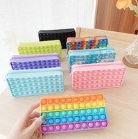 Fidget Oyuncaklar Kalem Kutusu Renkli İtme Kabarcık Duyusal Squishy Stres Rahatlatıcı Otizm Çocuklar Için Anti-Stres Gökkuşağı Yetişkin Oyuncak C00056
