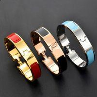 12mm Breedte Goud Zilver Bangle voor Dames Mode Titanium Stalen Polsband H Enamel Color Bracelet
