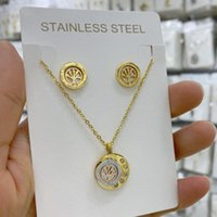 Earrings & Necklace Stainless Steel SET Tree Of Life Crystal Round Small Pendant Gold Silver Rose Color Elegant Women Jewelry Gifts