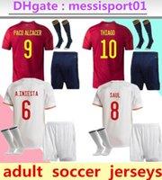 2021 İspanya Futbol Forması Yetişkin Seti 20/21/22 Ev Uzakta Asensio Morata ISCO Iniesta Saul Erkekler Kiti Spor Futbol Gömlek