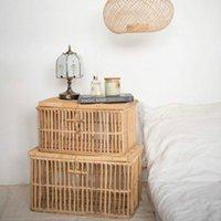 Cestas de armazenamento moda cesta retangular de rattan com prateleira de tampa mão-tecida caixa de detritos cozinha cozinha