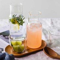 520ML Mini Glass Water Bottle Heat-Resistant Juice Container Coffee Jugs Flower Tea Pot Milk Cups Home Drinkware Cold Kettle 210610