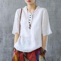 Женская футболка Joilature Хлопковое белье сплошной цвет V-образным вырезом.