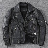 Men's Leather & Faux 2021 Black Motorcycle Style Jacket Men Large Size 4XL Genuine Natural Cowhide Autumn Slim Fit American Biker's Coat