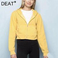 Women's Jackets DEAT Women Solid Coat Pockets Long Sleeve Hooded Casual Loose Designed Temperament Fashion Autumn Winter 2021 11J0433