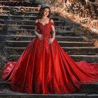 Party Dresses Luxury Red Quinceanera Ball Gown Satin Masquerade 15 Year Off The Shoulder Lace Appliques Prom Sweet 16 Dress