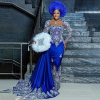 Aso Ebi Style Royal Blue Evening Dress Long Sleeves Lace With Bead vestido longo robe de soiree Sexy Prom Pageatn Gowns Removable Train 2021