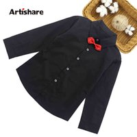 Boys Shirts Spring Summer Gentleman Bow Collar For Kids Clothes Long Sleeve Tops Vestidos 6 8 10 12 Years 210429