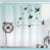 Curtains Aessories Bath Home & Gardenart Shower Curtain Dandelion Flower Arrangement Petals Doves Flying Silhouettes Fantasy Blooms Print Ba