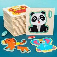 3d خشبية لغز بانوراما لعب للأطفال الخشب 3d الكرتون الحيوان الألغاز الذكاء الاطفال ألعاب تعليمية مبكرة للأطفال
