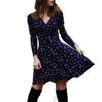 Casual Dresses 2021 Est Fashion Women Deep V Neck Long Sleeve Waist Tight Large Hem Floral Print Mini Dress For Female