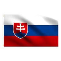 슬로바키아 국기 3x5 FT 150x90cm 100D 폴리 에스터 배너 황동 그로밋 장식 매달려 광고 사용자 정의 플래그 CCF5780