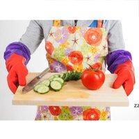 قفازات اللاتكس للماء مع تنظيف المطبخ القطن غسل طبق المطاط قفازات سماكة طويلة الأكمام قفازات الغسيل قفاز HWF9017
