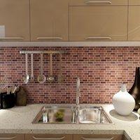 Art3d 30x30 cm 3D duvar çıkartmaları kendinden yapışkanlı soyma ve sopa backsplash kiremit ekstra yapışkan, mutfak banyo için üzücü kırmızı tuğla tasarım, duvar kağıtları (10 parça)