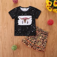 Kids Clothing Sets Girls Outfits Baby Clothes Children Suit Children's Wear Summer Polka Dot Short-Sleeved Top T-shirts Leopard Print Shorts Fashion 2Pcs B7080