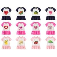 INS TIK TOK Baby Girls Vestidos 2021 Verano New Falda Chicas Dibujos animados Amor Fruta Manga Casual Vestido Casual Vestido Niños Princesa Falda Larga Camisetas Vestidos GG62CDVU