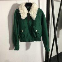 Stylish Detachable Wool Collar Lapel Jackets Women Long Sleeve Zipper Jacket Autumn Winter Printed Lining Coat With Tags