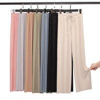 Women's Pants & Capris Ice Silk Long Straight Pantalon Loose Thin High Waist Women Broad-legged Sweatpants Stacked Leggings