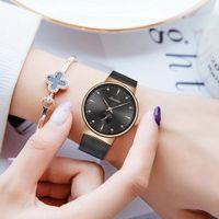 Wristwatches SUNKTA Rose Gold Black Women Quartz Watches Stainless Steel Ultra-thin Watch Fashion Clock Female Dress Gift