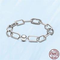 Bracelets en argent sterling de mode 925 pour femmes DIY Fit Pandora Perles Charms Slender Link Bracelet Fine Bijoux Fine Dame cadeau avec boîte originale