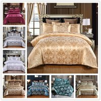 Luxo cetim jacquard conjuntos de cama bordado conjunto de casal rainha king size edredom conjunto de cobertura fronha t2i51970