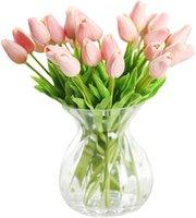 20 رؤساء الزنبق الاصطناعي الزهور باقة غرفة المنزل مكتب حفل زفاف الديكور فكرة هدية ممتازة ليوم الأم