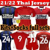 2021 2022 Hombres Kits Kits + Calcetines Conjuntos completos Middlesbrough Fútbol Jerseys 21/22 Ashley Michael Fletcher Jersey 11 Flint 24 ala 26 Camisetas de fútbol de Assombalonga Thai