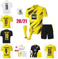 20-21 Borussia Haaland Reus Dortmund Soccer Jerseys 2021HAA ^ Land Hummels Brandt Chemise de football Hommes Kids Socks Kit Uniformes