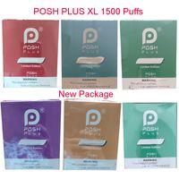 Yeni Posh Plus XL Tek Kullanımlık Vape E Sigara Cihazı 1500 Puffs Pod Kiti Kalem Bar 650mAh Power Pil Önceden doldurulmuş kartuş marş