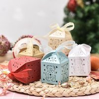 Gift Wrap 50PCS Little Bear Candy Boxes Sweets Favor With Ribbon For Baby Shower Birthday Children's Day Wedding Decoration
