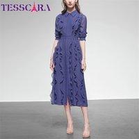 TESSCARA Women Spring Summer Elegant Chiffon Dress Shirt High Quality Office Cocktail Party Robe Femme Ruffle Designer Vestidos 210729