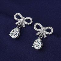 Stud Trendy Romantic Bowknot Drop Shape Design Girl Earrings With Brilliant Cubic Zircon Stone Simple Tiny Women