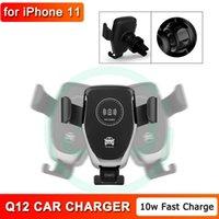 Cargador de coche rápido de 10W Q12 Vehículo inalámbrico de montaje inalámbrico Quick 360 Rotation Phone Holder con caja de venta al por menor General