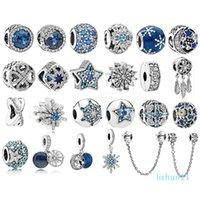 925 Sterling Silver Beads Fit Original Pandora Charm Bracelet Sea Blue Zircon Stars Snowflake silver 925 Fashion Jewelry
