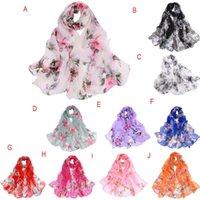 Fashion Scarves For Women Peach Blossom Printing Long Soft Wrap Scarf Lady Shawl Chiffon Slik Ladies